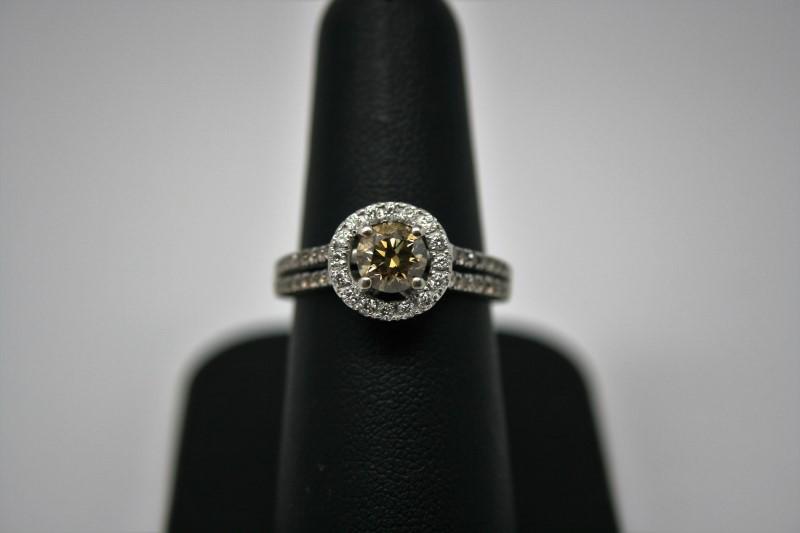 LADY'S ENGAMENT LEVIAN COGNAC DIAMOND RING 14K WHITE GOLD