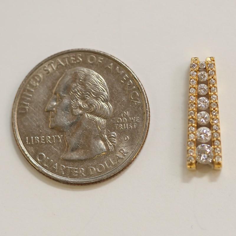 Channel Set Dual Sized Round Brilliant Diamond 14K Y/G Pendant