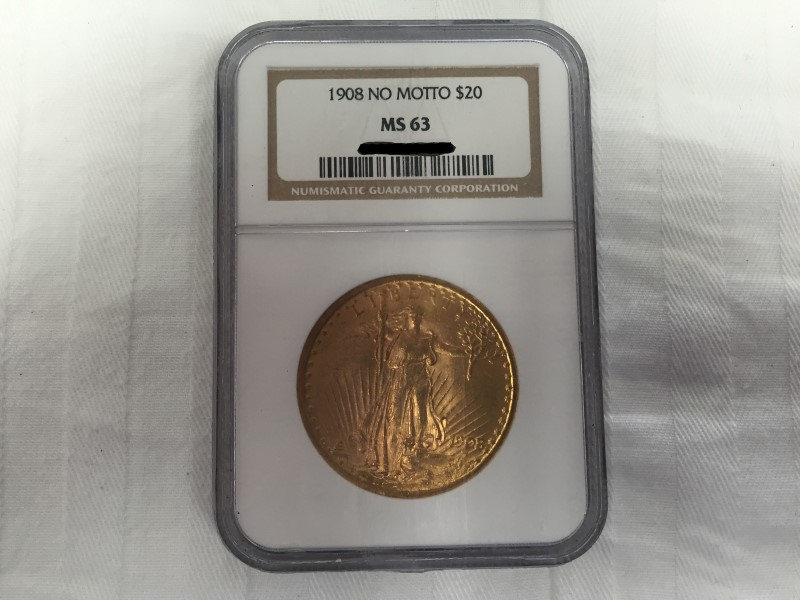UNITED STATES 1908 NO MOTTO $20 GOLD COIN