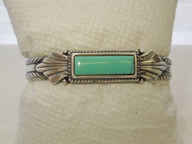 Synthetic Turquoise Silver-Stone Bracelet 925 Silver 32.8g