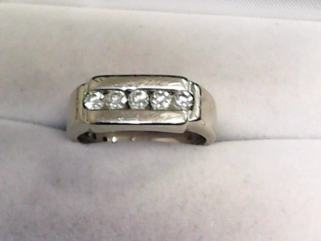 Gent's Diamond Cluster Ring 5 Diamonds .50 Carat T.W. 14K White Gold 4.8dwt