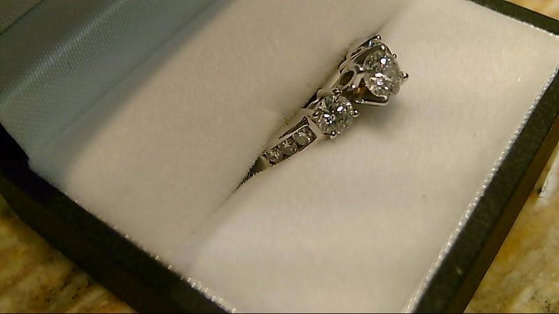 Lady's Gold-Diamond Anniversary Ring 9 Diamonds .77 Carat T.W. 14K White Gold