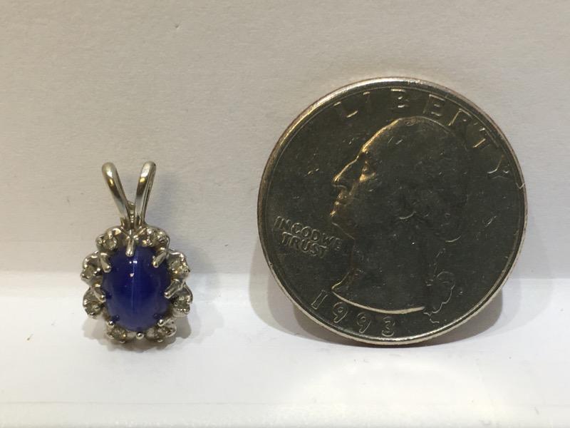 Star Sapphire Gold-Diamond & Stone Pendant 8 Diamonds .08 Carat T.W.