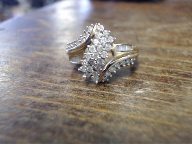 Lady's Diamond Cluster Ring 47 Diamonds .47 Carat T.W. 10K Yellow Gold 3.8g