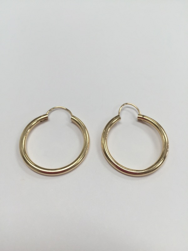 "14K 1"" HOOP EARRINGS YELLOW GOLD"