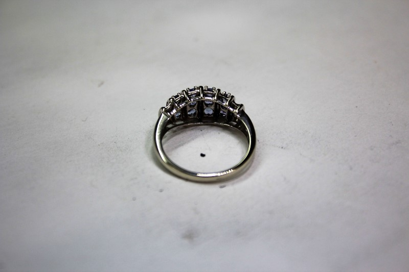 Lady's Stone & Diamond Ring 6 Diamonds .06 Carat T.W. 10K White Gold Size: 6.8