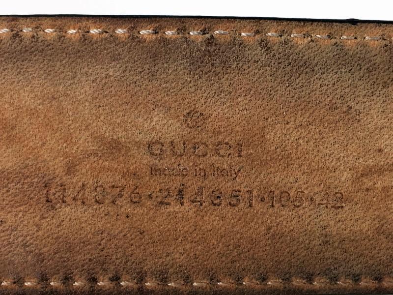 GUCCI 114876 INTERLOCKING G BUCKLE BELT SIZE 42