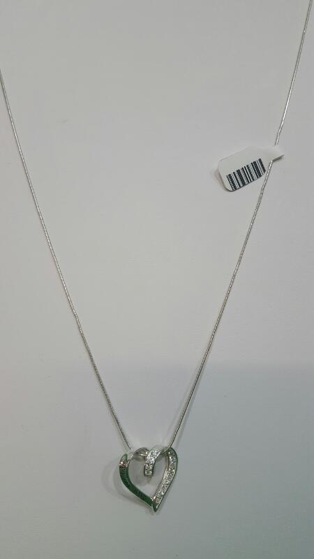 """24"""" Clear Stone Stone Necklace 925 Silver 6.5g"""