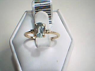 White Stone Lady's Stone Ring 14K Yellow Gold 1.5g