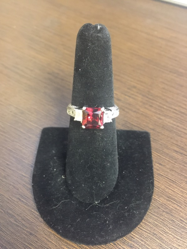 Almandite Garnet Lady's Platinum-Diamond & Stone Ring