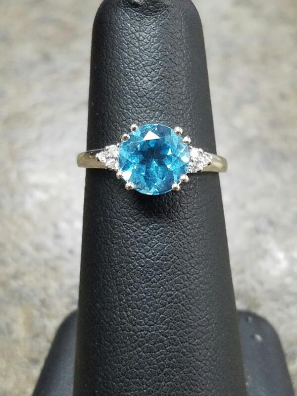Blue Stone Lady's Stone & Diamond Ring 6 Diamonds .06 Carat T.W. 14K White Gold