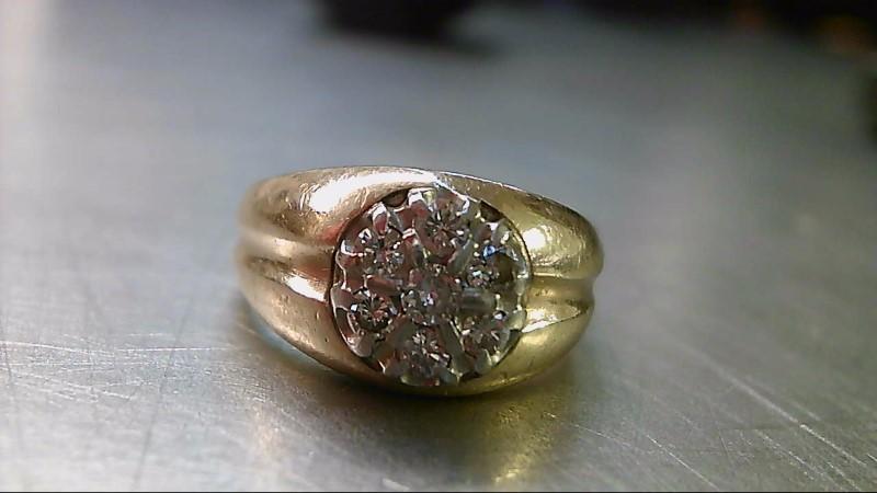 Gent's Diamond Cluster Ring 7 Diamonds .53 Carat T.W. 10K Yellow Gold 5.86g