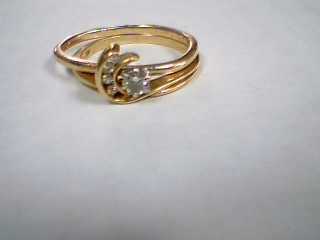 Lady's Diamond Wedding Set 5 Diamonds .19 Carat T.W. 14K Yellow Gold 3.6g
