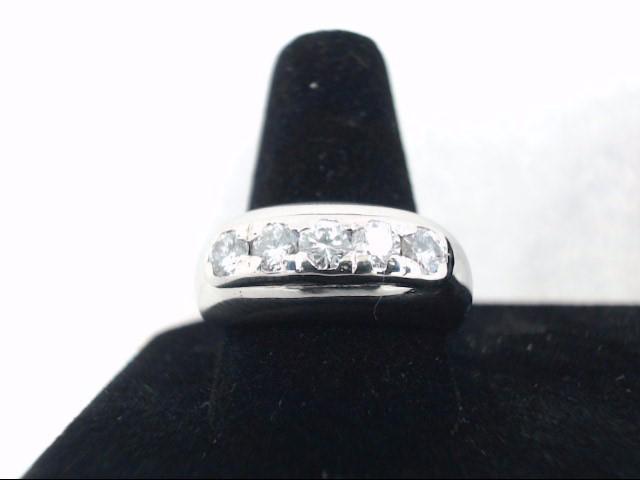 Gent's Gold-Diamond Wedding Band 5 Diamonds .50 Carat T.W. 14K White Gold 6.8g