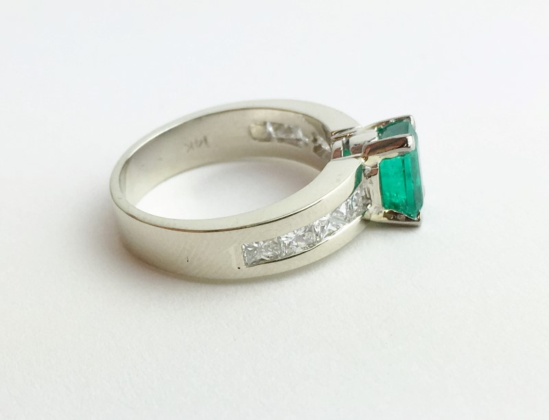 Emerald Diamond Ring 8 Diamonds .40 Carat T.W. 14K White Gold Ring