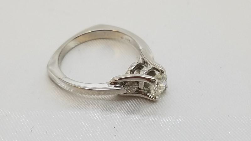 Lady's Diamond Engagement Ring 3 Diamonds .72 Carat T.W. 14K White Gold 3.8g