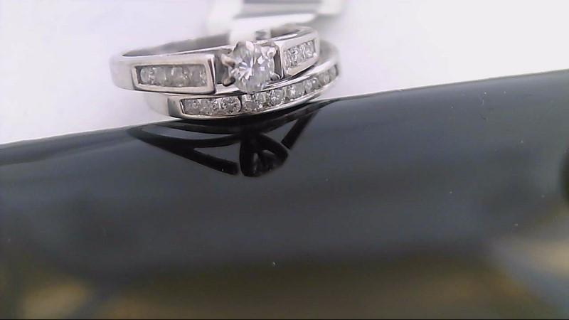 Lady's Diamond Wedding Set 19 Diamonds .51 Carat T.W. 14K White Gold 3.9g