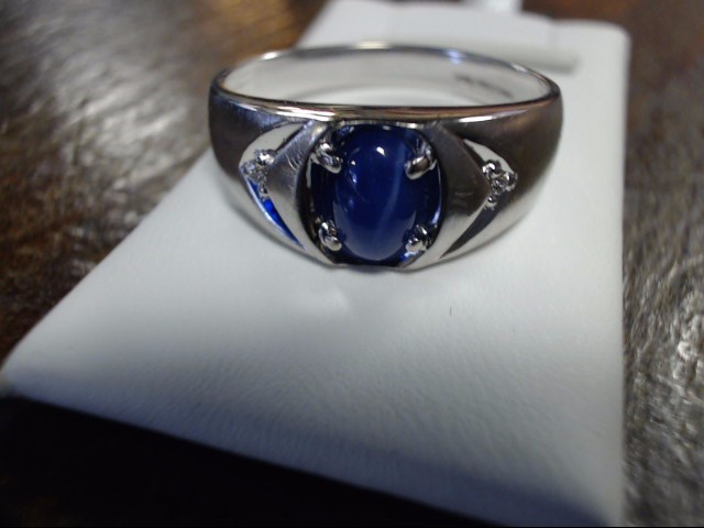 Blue Stone Gent's Stone & Diamond Ring 2 Diamonds .04 Carat T.W. 10K White Gold