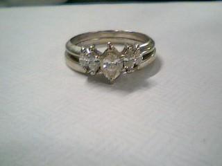 Lady's Diamond Wedding Set 5 Diamonds .44 Carat T.W. 14K White Gold 5.44g