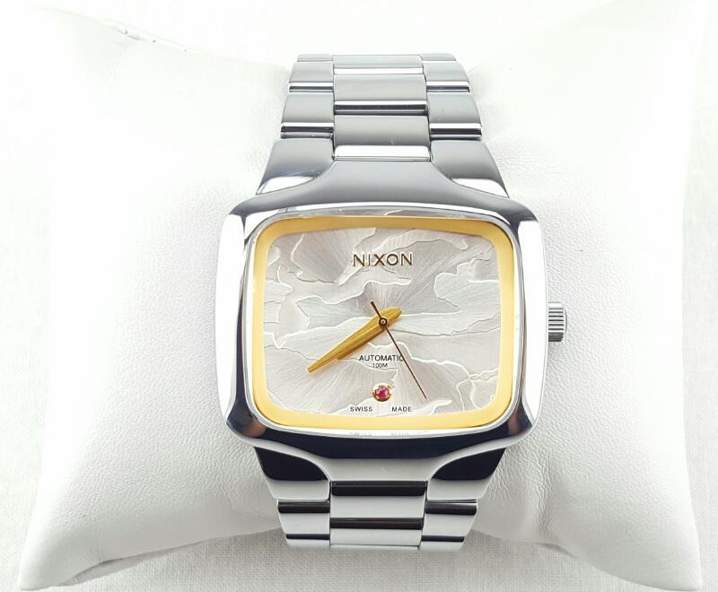 NIXON THE PLAYER AUTOMATIC STAINLESS STEEL WATCH WITH BOX AND PAPERS