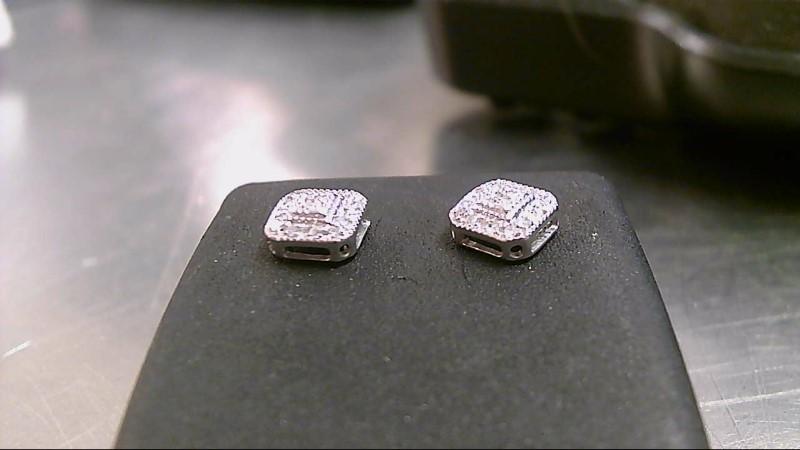 Silver-Diamond Earrings 26 Diamonds .26 Carat T.W. 925 Silver 1.1g