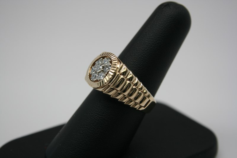 GENT'S ROLEX STYLE DIAMOND RING 14K YELLOW GOLD