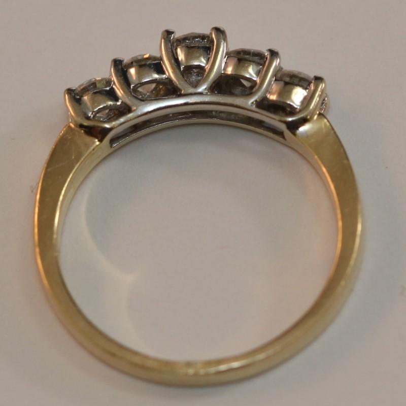 14k Yellow Gold Bead Set Round Brilliant Diamond Wedding Band Size 7