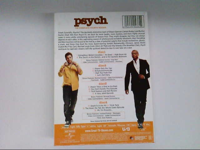 UNIVERSAL STUDIOS DVD PSYCH THE COMPLETE FOURTH SEASON