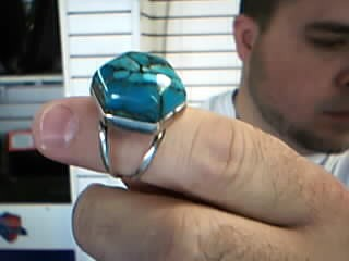 Synthetic Turquoise Lady's Silver & Stone Ring 925 Silver 13.02g