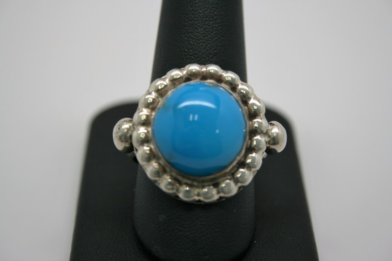 FASHION STYLE TURQUOISE SILVER RING 9.5