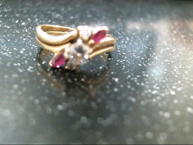 Red Stone Lady's Stone & Diamond Ring 3 Diamonds .26 Carat T.W. 10K Yellow Gold