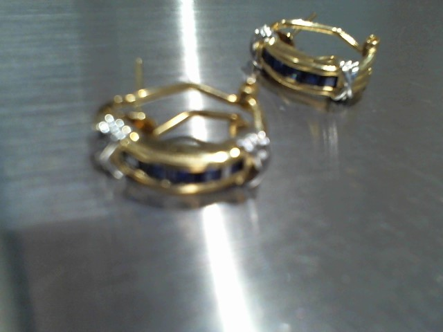 Synthetic Sapphire Gold-Stone Earrings 14K Yellow Gold 4.9g