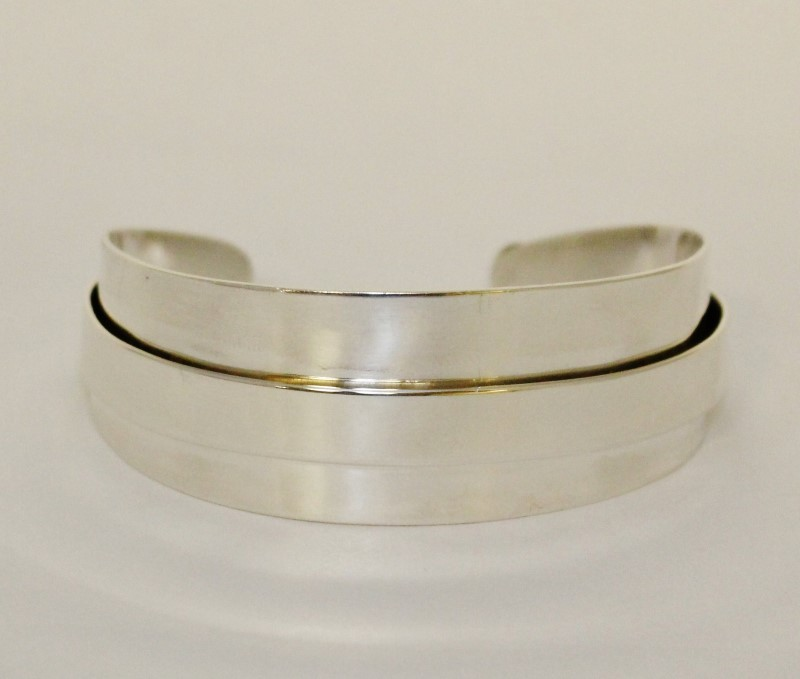 Sterling Silver Double Banded Plain Polished Cuff Bracelet