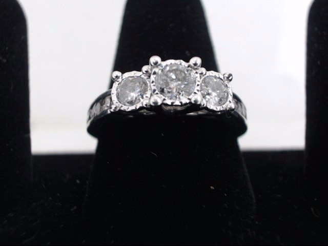Lady's Diamond Engagement Ring 3 Diamonds .90 Carat T.W. 14K White Gold 4g