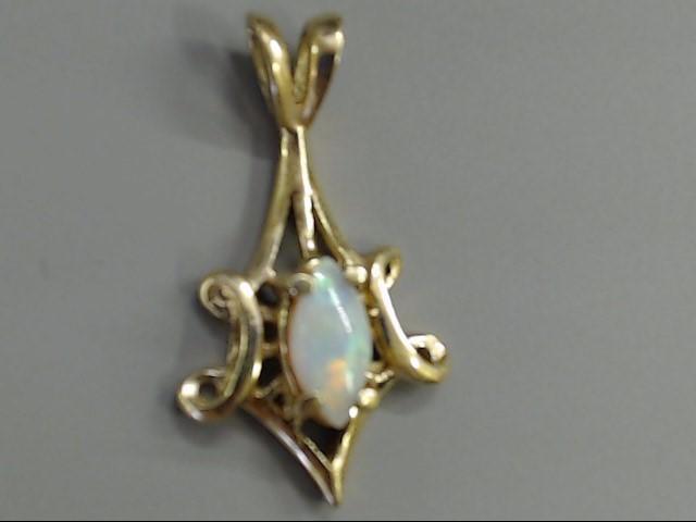 VINTAGE MARQUISE OPAL PENDANT CHARM SOLID REAL 14K YELLOW GOLD 1.9g