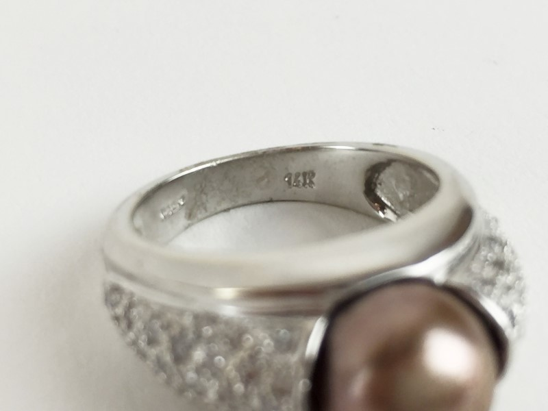 LDS 14K DIA PAVE & BROWN PEARL RNG .54CTW SZ 7