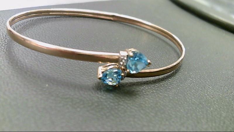 Synthetic Blue Topaz Gold-Stone Bracelet 10K Yellow Gold 3.5g