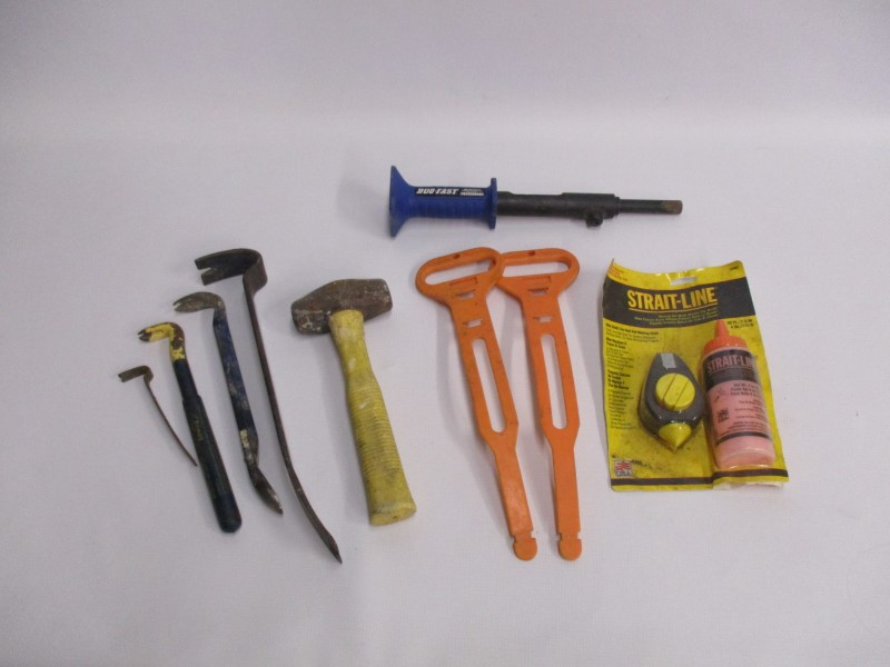 LOT OF MISC USED TOOLS - DUO FAST STRIKE TOOL, PRY BARS, STRAIT-LINE, ETC