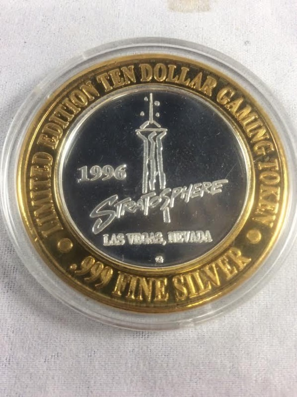 Stratosphere 1996 Las Vegas Limited Edition Big Shot 999 Silver $10 Gaming Token