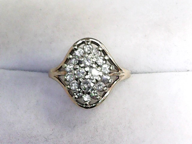 Lady's Diamond Cluster Ring 19 Diamonds .57 Carat T.W. 14K Yellow Gold 1.97dwt
