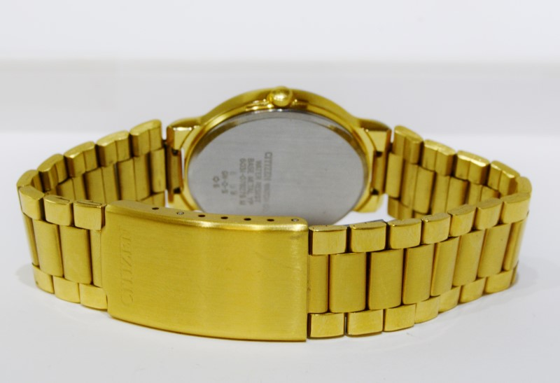 Citizen Gold-Toned St. Steel Brushed & Polished Striped Face Watch
