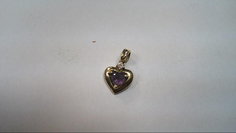 Purple Stone Gold-Stone Pendant 10K Yellow Gold 1g
