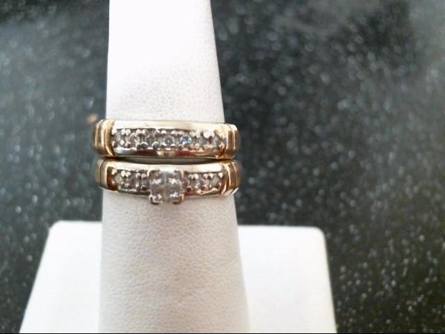 Lady's Diamond Wedding Set 17 Diamonds .38 Carat T.W. 14K 2 Tone Gold 6.7g