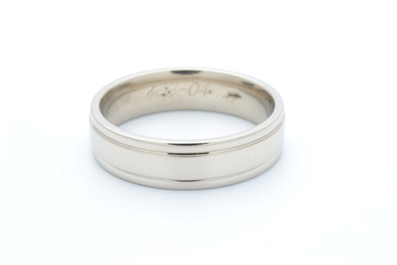 ESTATE SOLID 14K WHITE GOLD 6MM WEDDING RING BAND MEN GROOVE SZ 10.5
