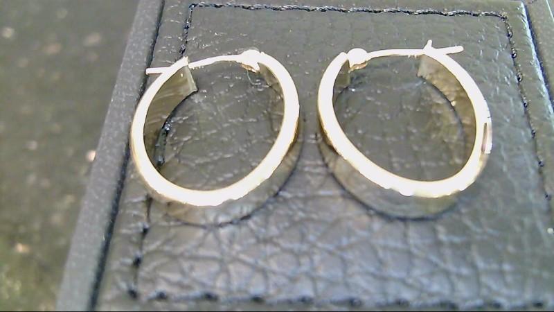 Lady's 14k yellow gold oval hoop earrings