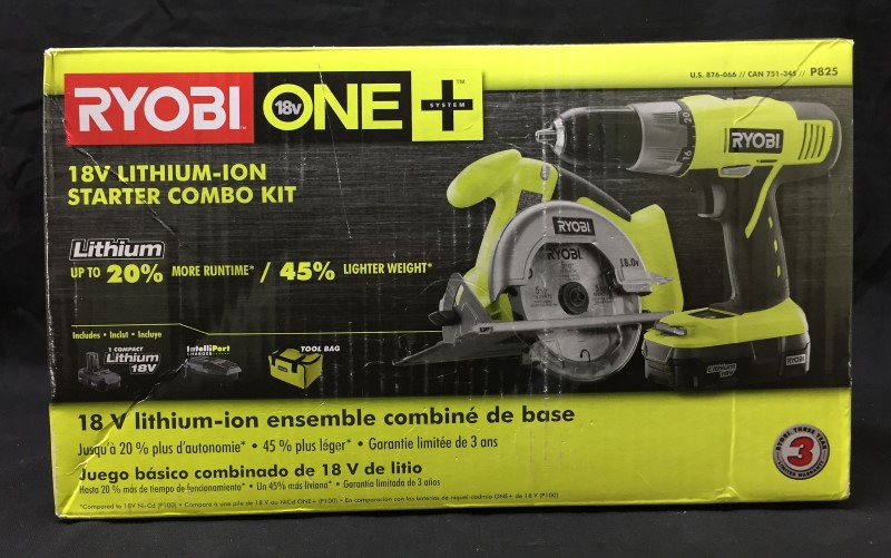 Ryobi ONE+ 18-Volt Lithium-Ion Starter Power Tool Drill/Saw Combo Kit (2-Tool)