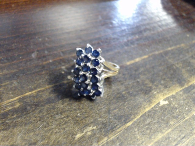 Blue Stone Lady's Stone Ring 14K Yellow Gold 8.8g Size:5.5