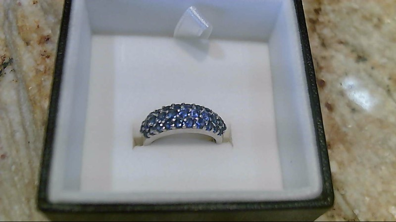 LeVian Genuine Sapphire 18K White Gold Cluster Ring