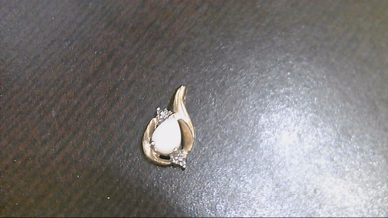 Lady's 10k yellow gold pear opal with 2 - cubic zirconia pendant