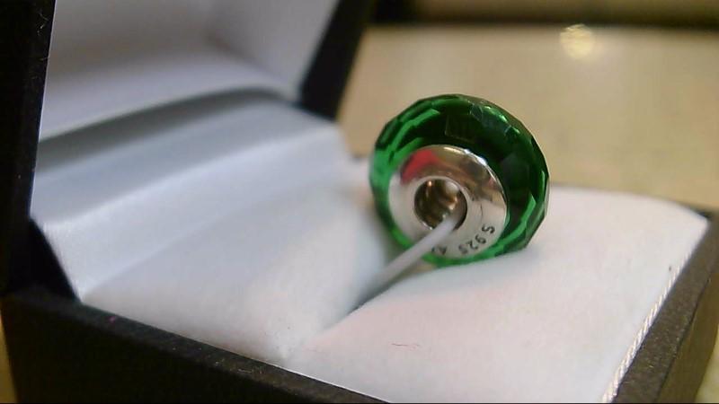 Pandora Green Bead Silver Charm 925 Silver 3.46g